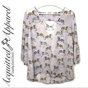 Daniel Rainn Unicorn Horse Print Top Blouse Shirt